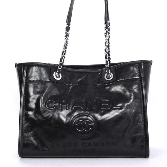 337147e4a92355 CHANEL Handbags - CHANEL Glazed Calfskin Small Deauville Tote Black